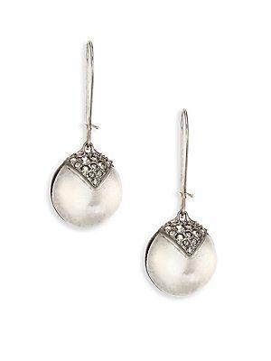 Alexis Bittar Origami Crystal-Encrusted Dangling Sphere Earrings - Sil