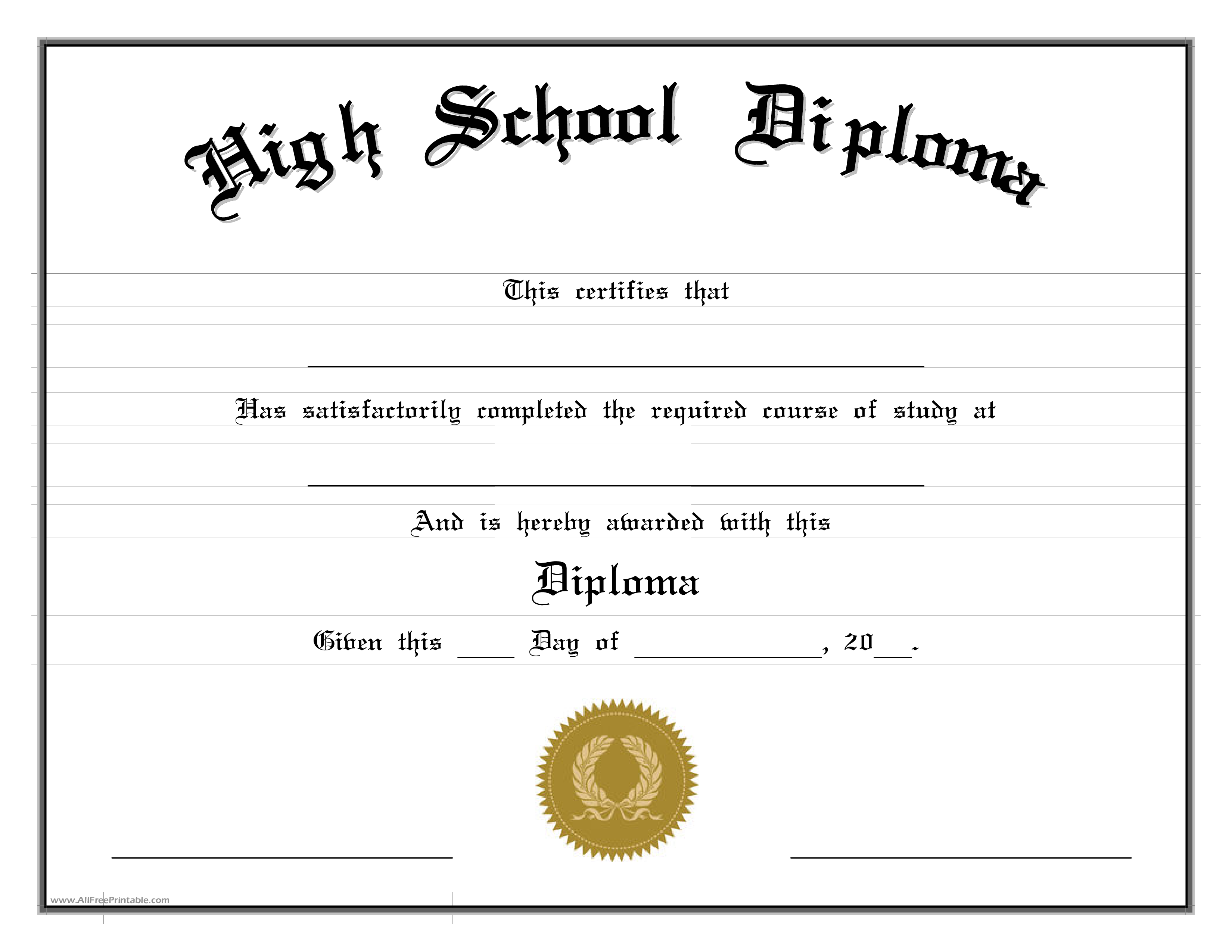 Diploma Template | High School Diploma Edit Cert Highs 2 Pdf Easy To Download And