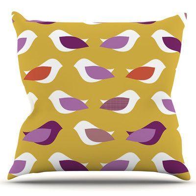 KESS InHouse Golden Orchid Birds by Pellerina Design Outdoor Throw Pillow