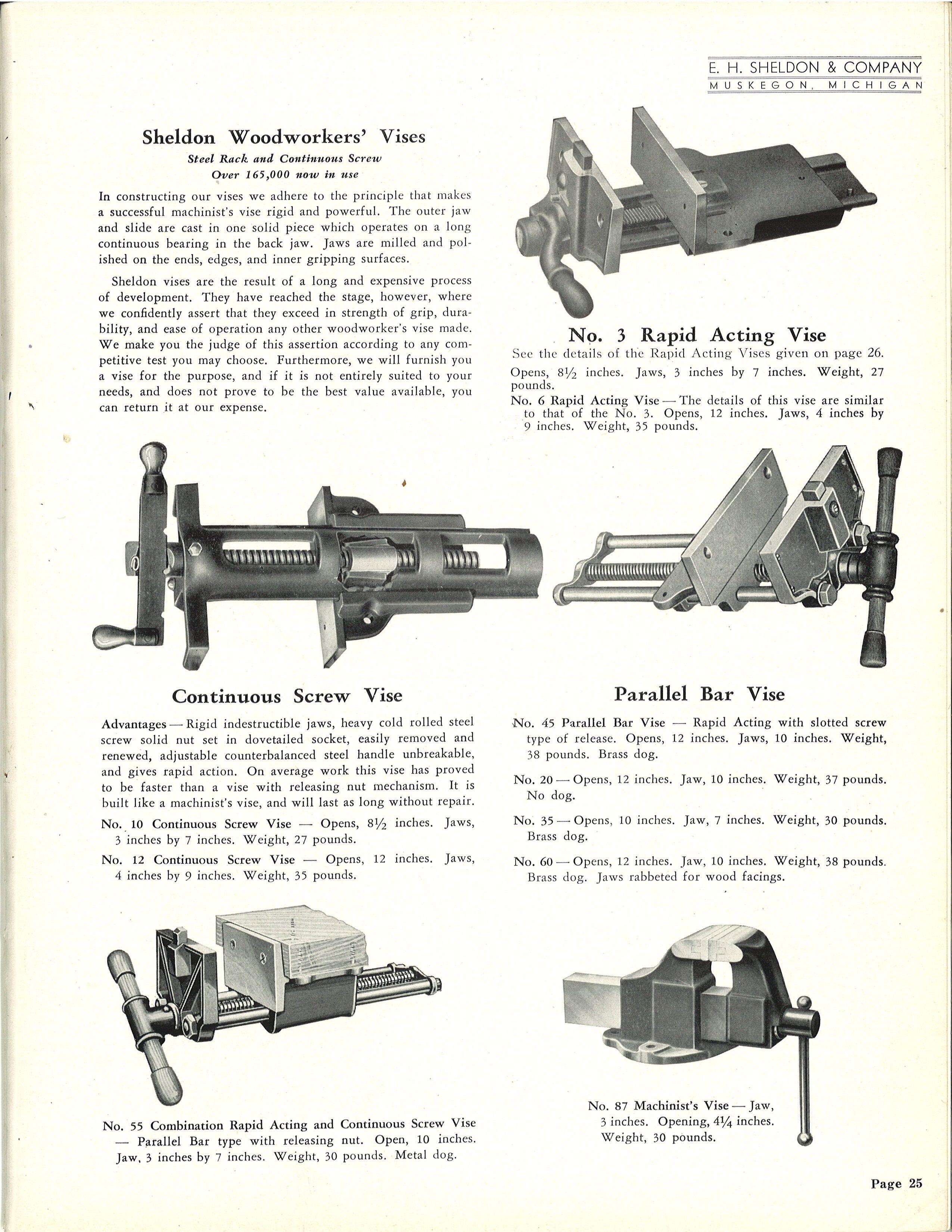 1946 Sheldon Shop Catalog Vises Vintage Sheldon Labs In