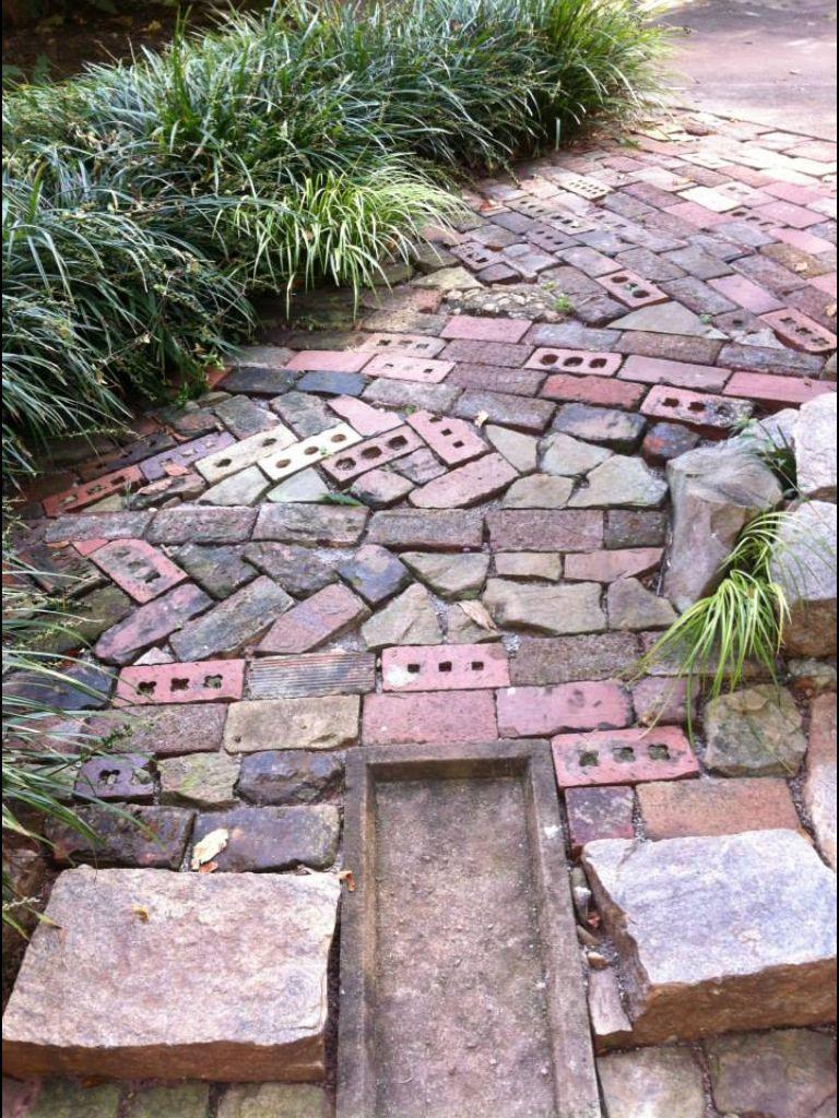 Random brick and stone path Stone garden paths