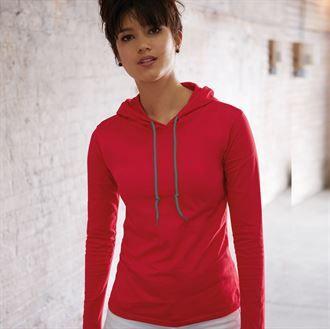 Anvil women's fashion basic long sleeve hooded tee