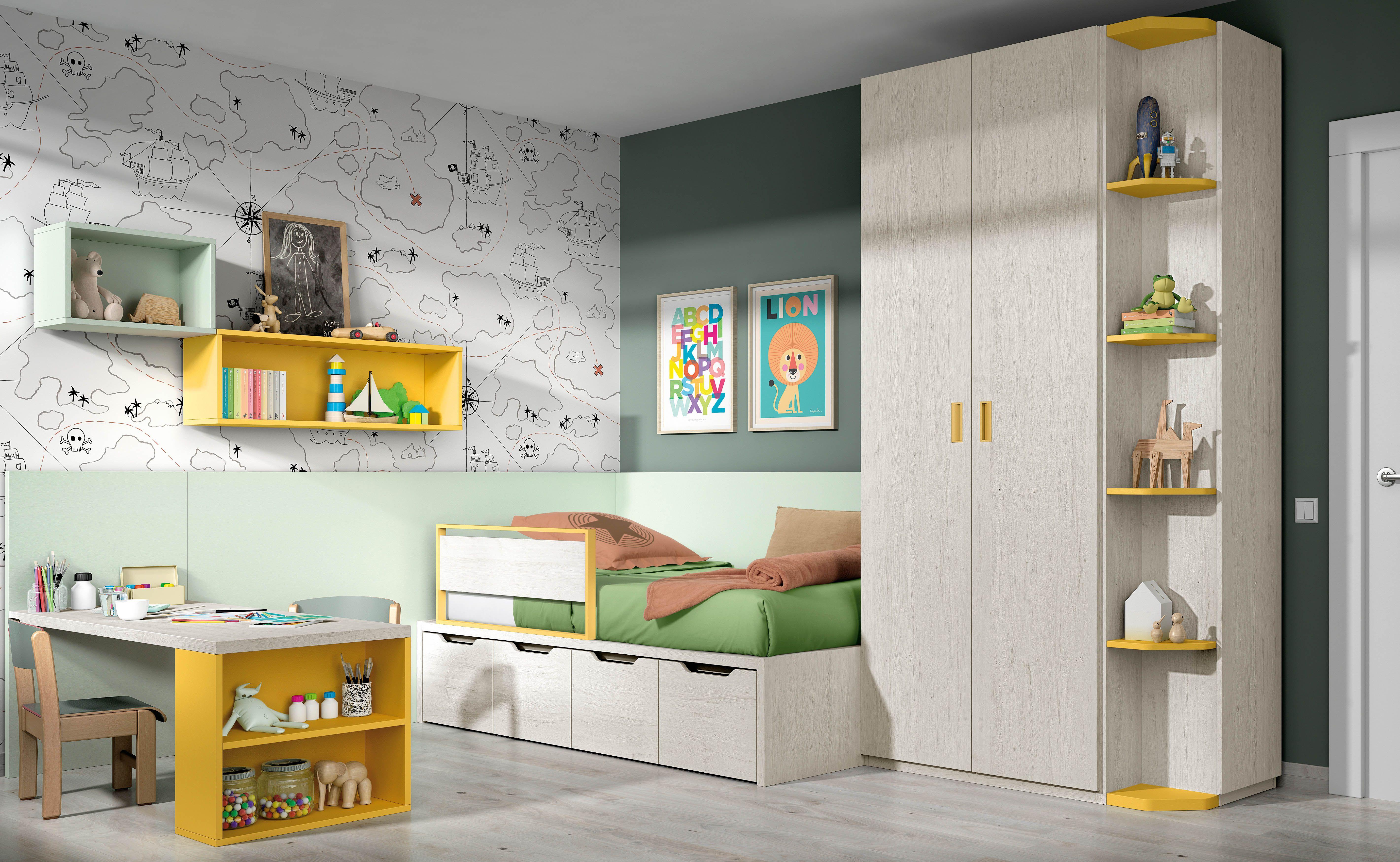 Cama Infantil Con Cajones Para Juguetes Y Escritorio  ~ Camas Infantiles Con Cajones Debajo