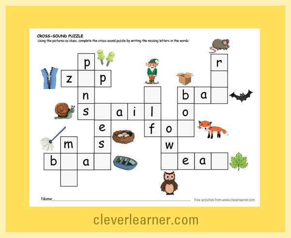 Crossword Sound Puzzle For Children Using The Pictures As Clues Children Will Itdentify The Word And F Sound Puzzle Beginning Sounds Worksheets Letter Sounds