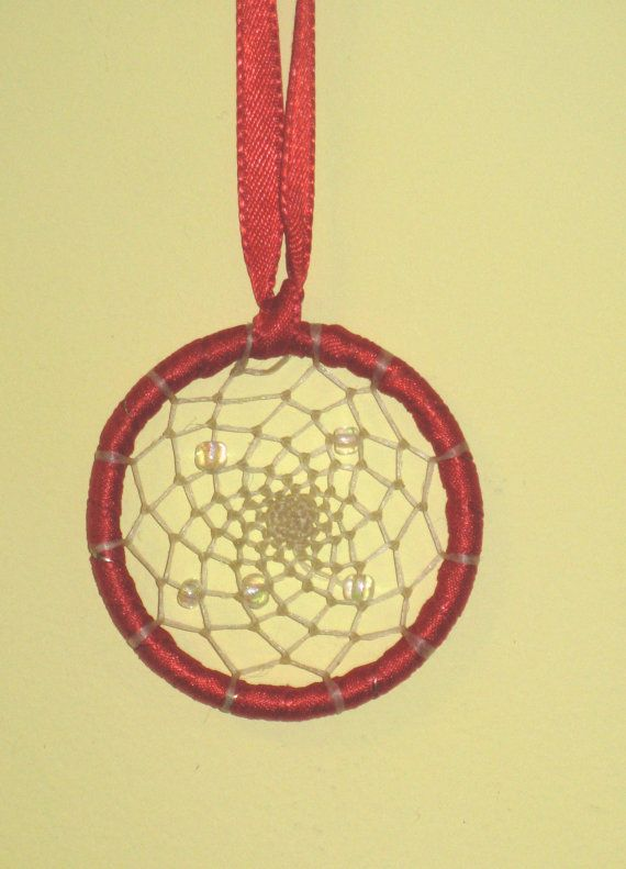 Handmade Dream Catcher small red satin by MyLittleCrochetShop, $8.00