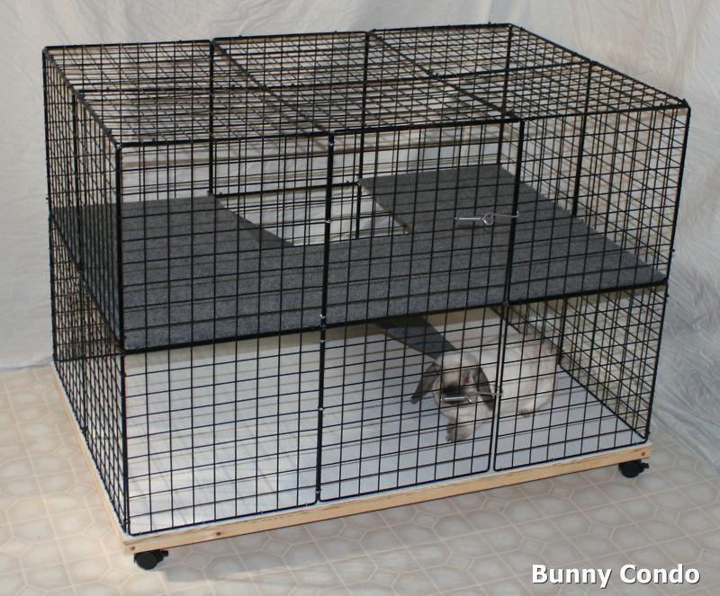 Rabbit cage Indoor BUNNY CONDO, deluxe hutch, pet pen large smooth & soft floors #Handmade
