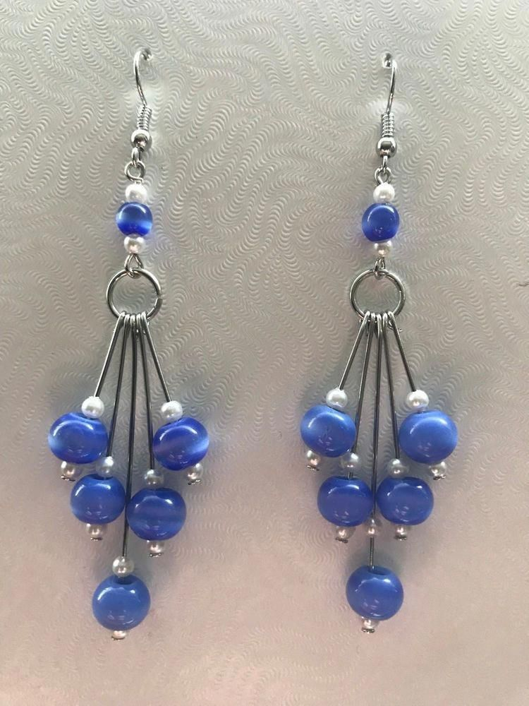 NEW.. A PAIR OF BLUE GLASS PEARL BEAD EARRINGS WITH 925 SOLID SILVER HOOKS