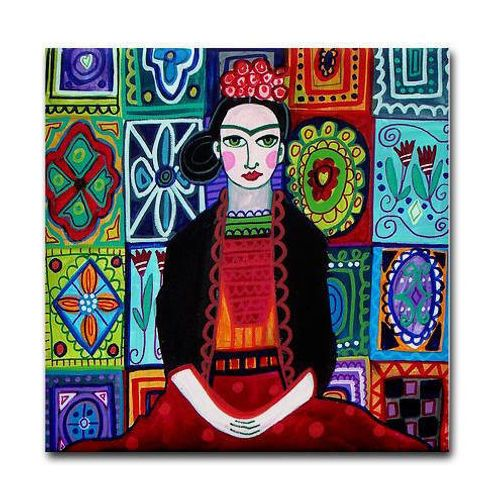 Frida Kahlo Decor Mexican Shower Curtain Talavera Tiles Art Gift