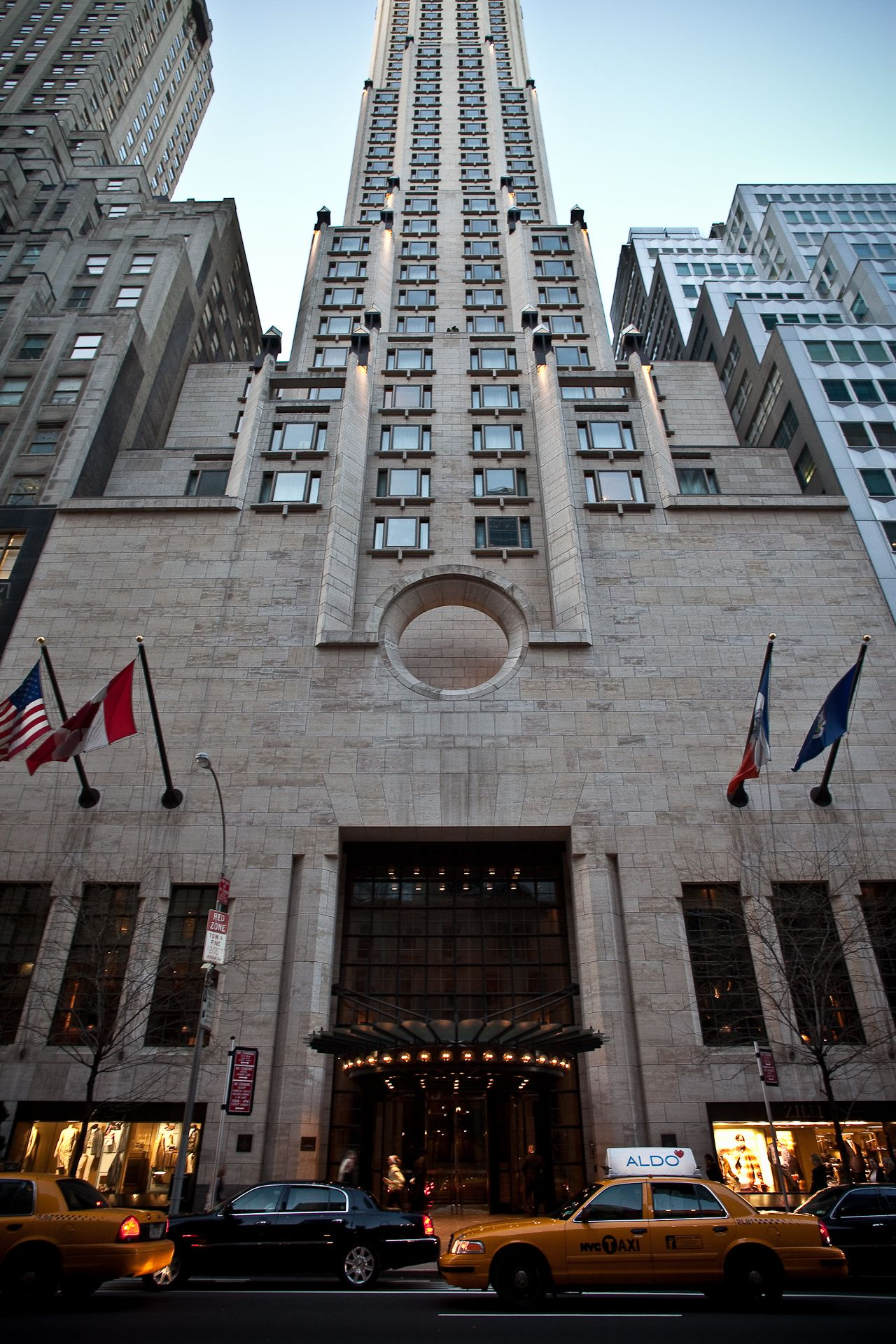Hotel Exterior: Four Seasons Hotel New York Exterior Entrance Looking Up