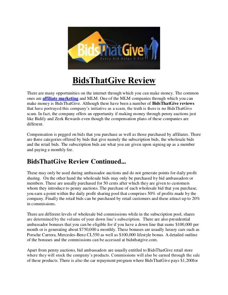 bidsthatgive-review by Make Money Online With Rob via Slideshare