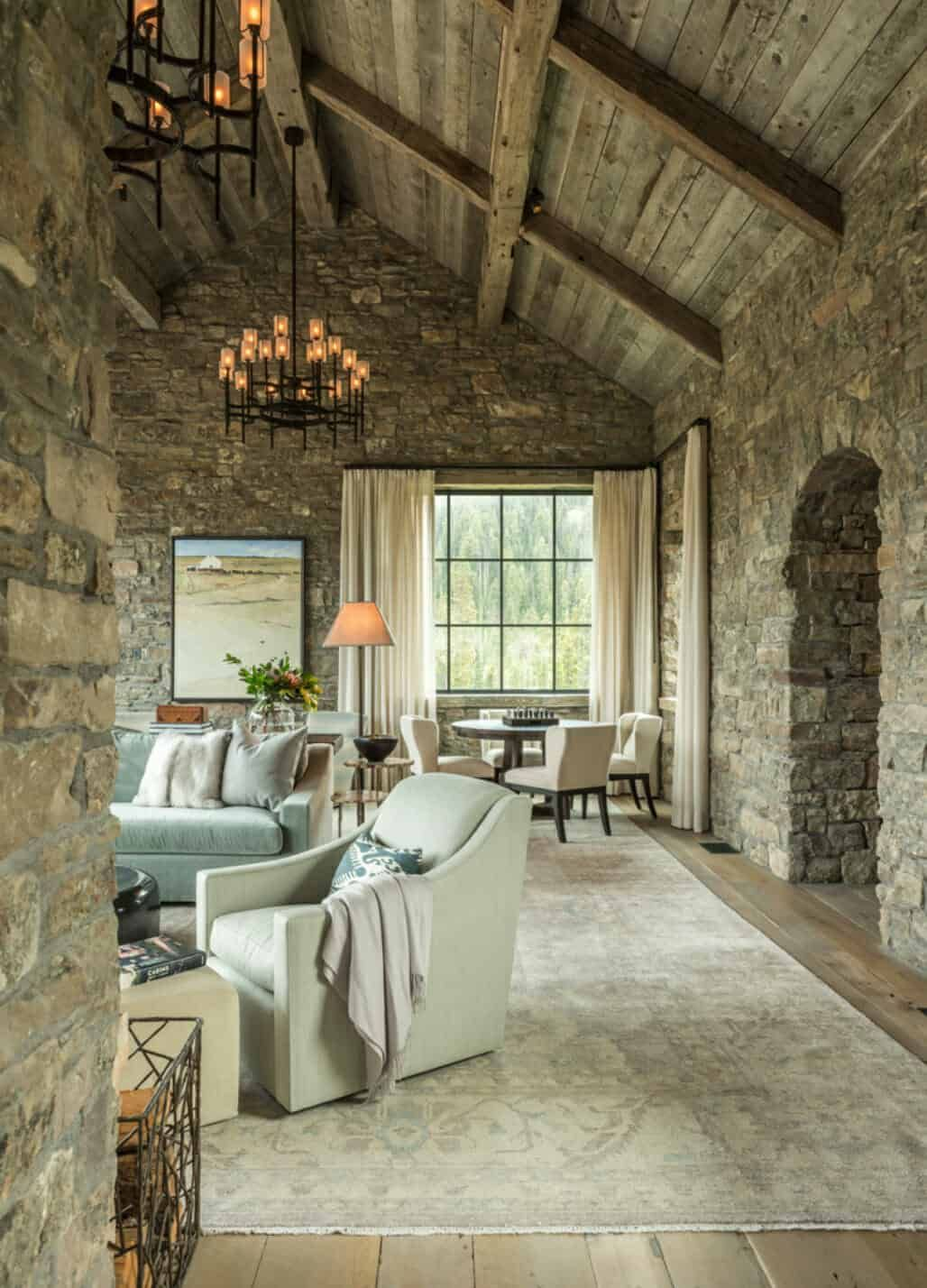 Photo of Stone and timber mountain dream house showcases Big Sky view…