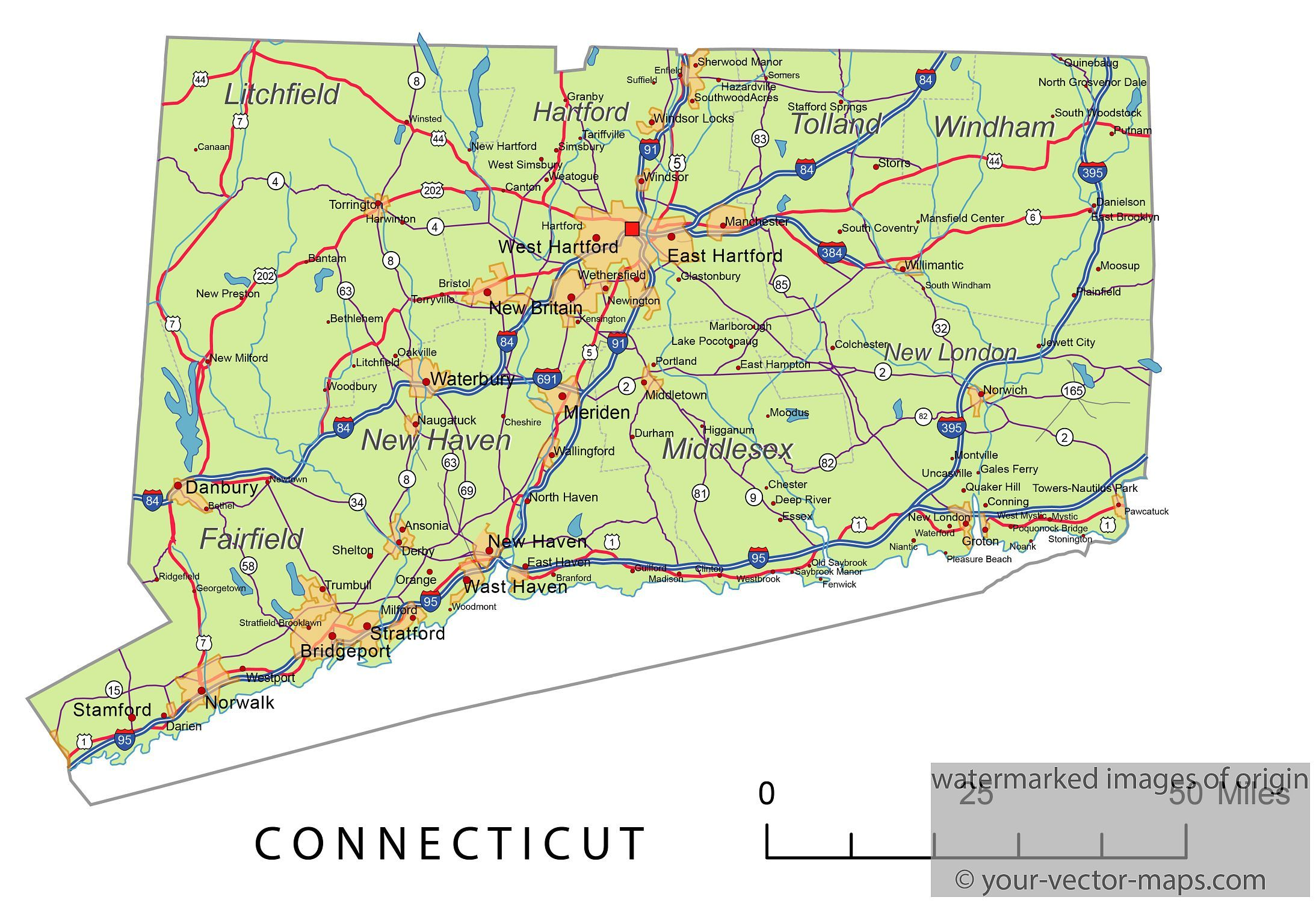 Connecticut state route network. Connecticut highways map. Cities of ...