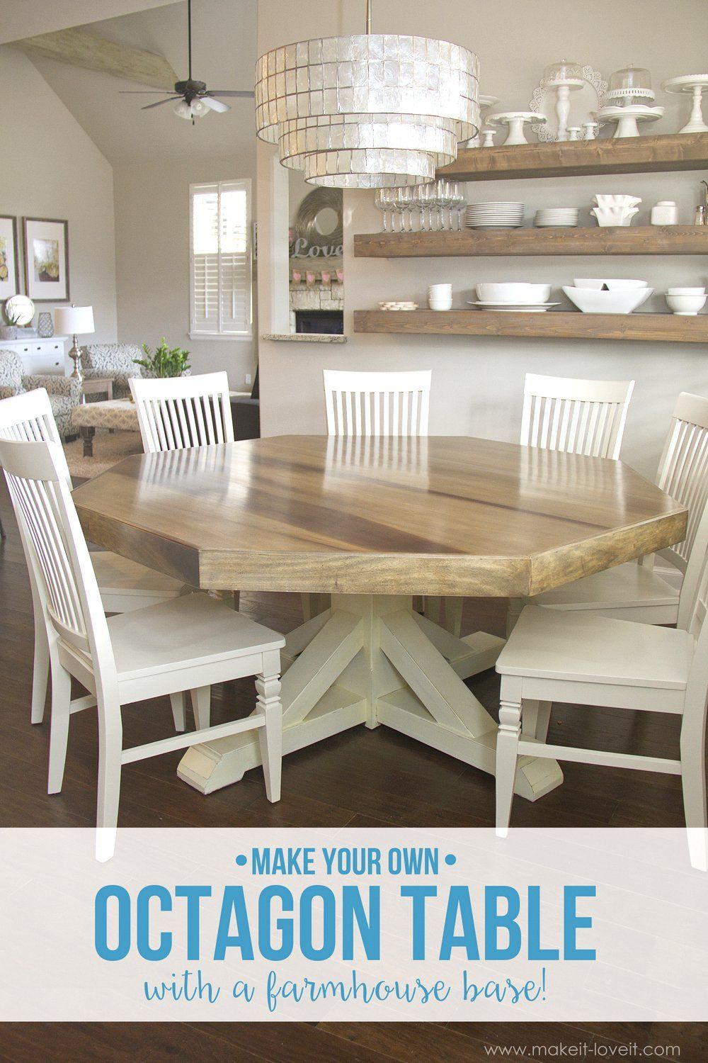 Painted round dining table  DIY Octagon Dining Room Tablewith a farmhouse base Seats