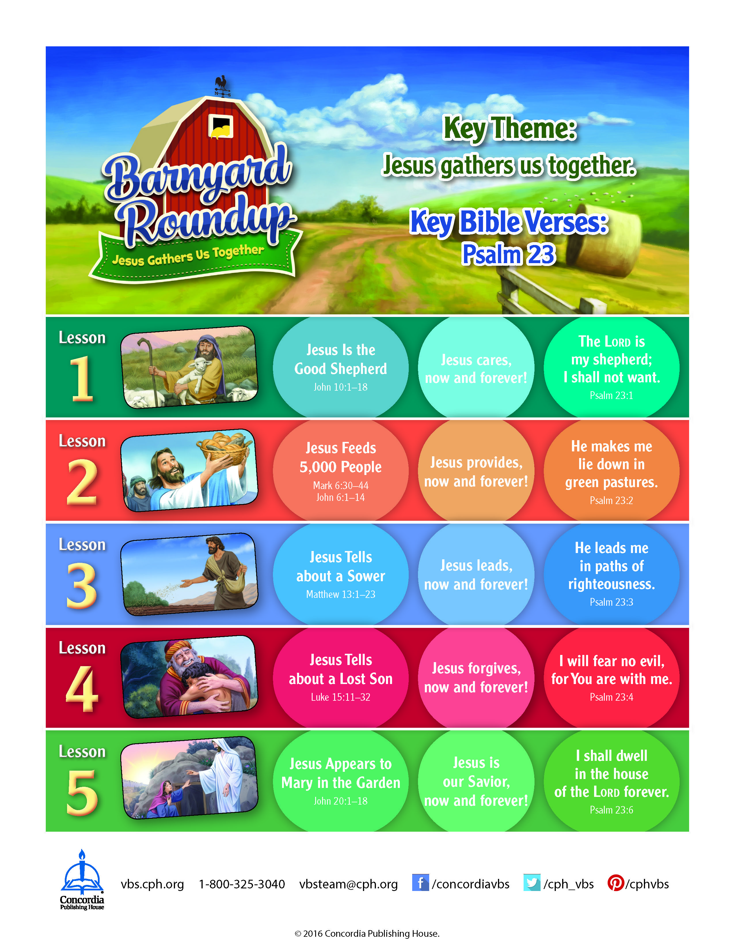 Full Lesson Chart For Barnyard Roundup Vbs Free