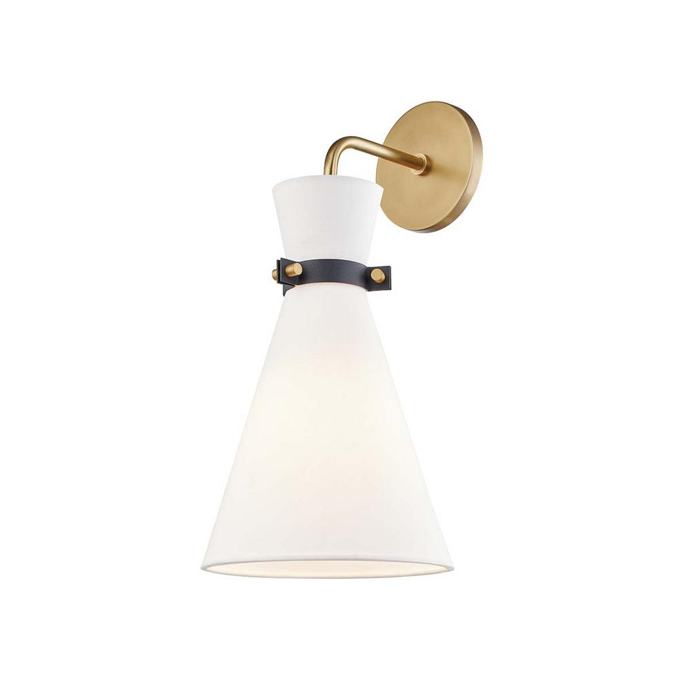 Mitzi By Hudson Valley Lighting Julia 1 Light Aged Brass Black Wall Sconce H294101 Agb Bk The Home Depot Contemporary Wall Sconces Wall Sconce Lighting Wall Sconces