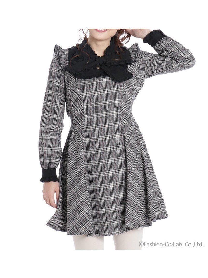 a0142d976e58d 【シークレットハニー/Secret Honey】のフリルボウタイワンピース レディースファッション・服の