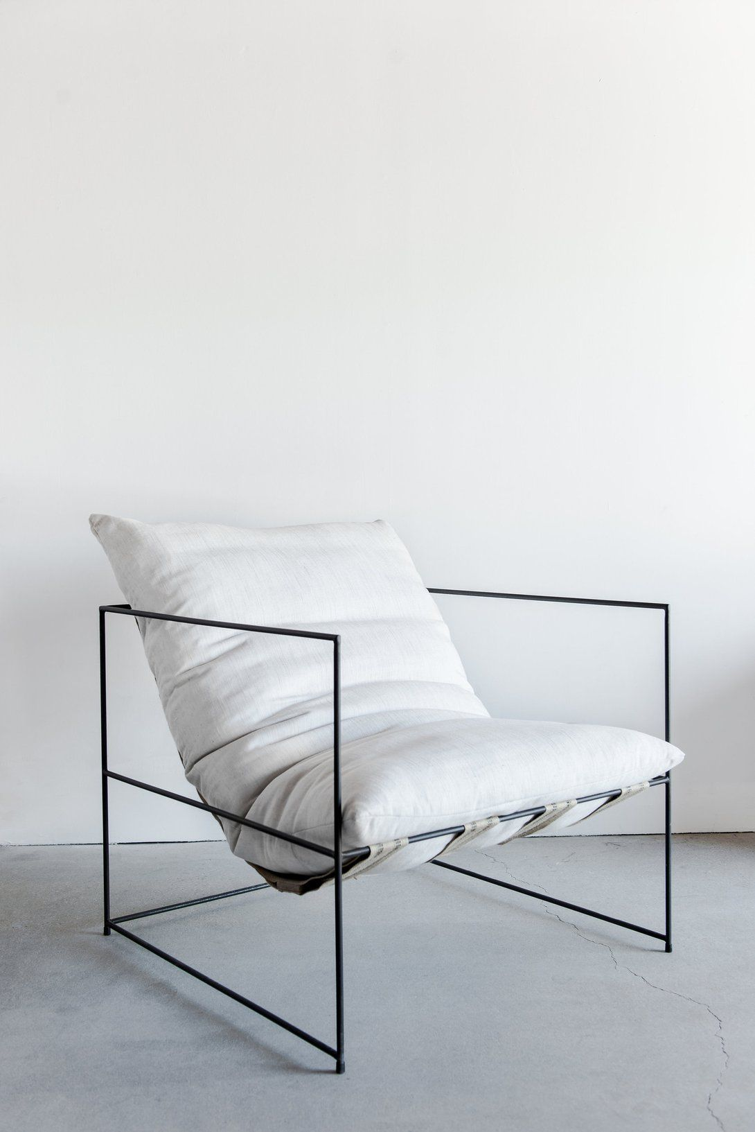 Biscayne wire chairs - The Ultimate Lounge Chair With An Industrial Steel Frame And 100 Down Cushion Fabric