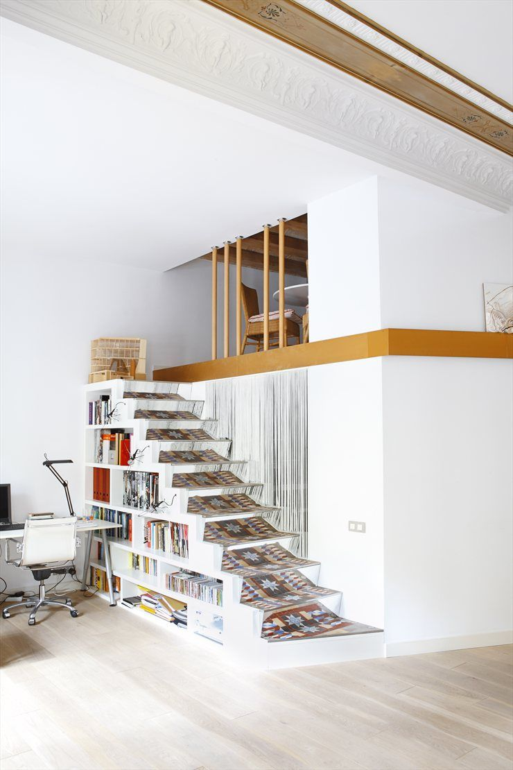 SANTPERE47, #Barcelona, 2008 by Miel Arquitectos #architecture #interiors #interiordesign #design #spain #sofa #livingarea #stair #cool