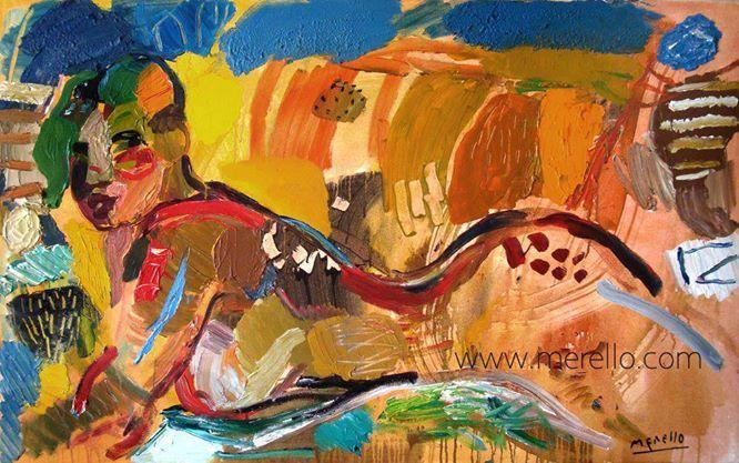 """EXPRESIONISMO. José Manuel Merello. """"Mujer desnuda."""" (81x130 cm) Arte contemporáneo. Pintores españoles actuales. Arte actual siglo 21. Pintura moderna. Cuadros de artistas contemporaneos. México, Miami, Madrid. Arte, Lujo e Inversión.Color y Decoración en el Arte Moderno. http://www.merello.com"""