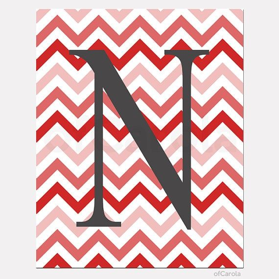 Red Chevron And Letter N Background Nursery Room Decor Wall Art Decor Wall Art Prints