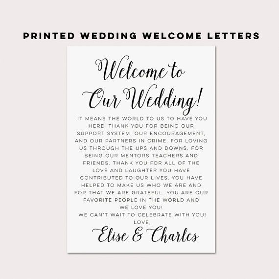 Thank You Letter For Wedding Gift: Wedding Welcome Letters