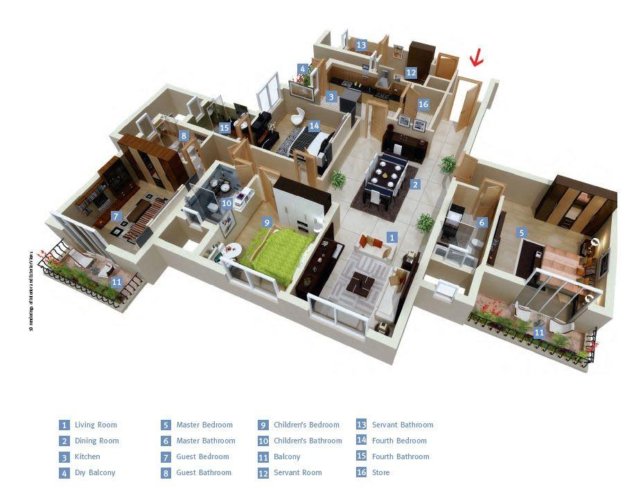 50 Four 4 Bedroom Apartment House Plans Architecture Design Bedroom House Plans Home Map Design House Plans