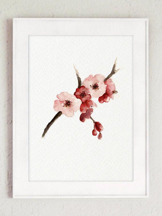 Cherry Blossom Watercolor Painting, Sakura Tree Poster ...
