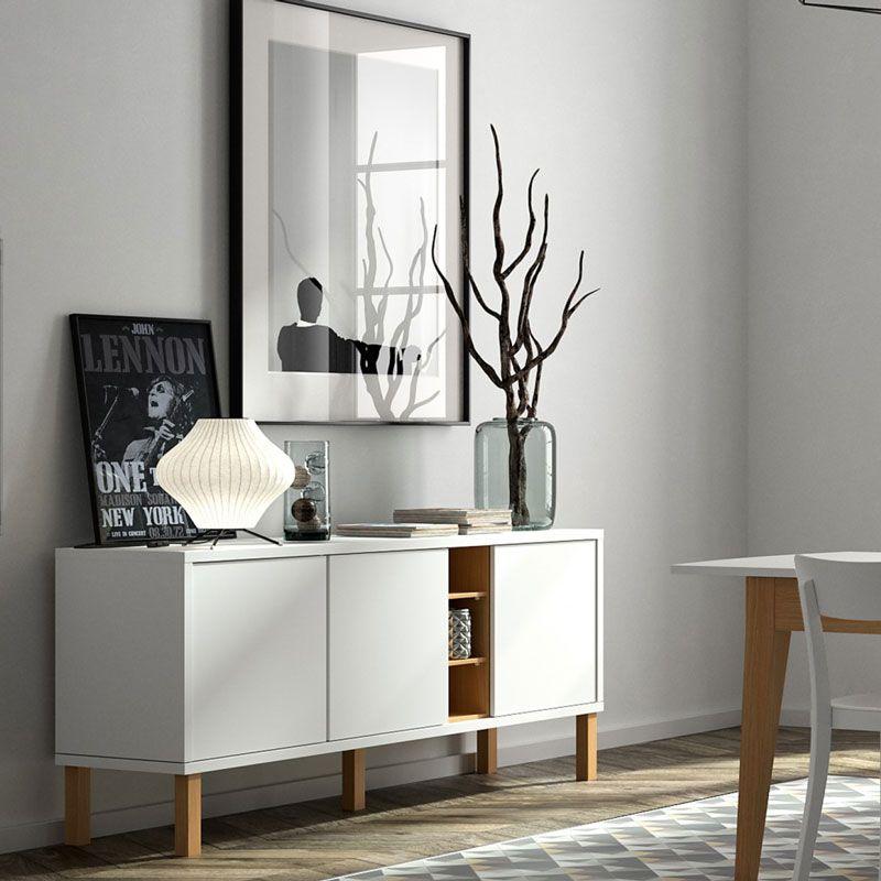 Aparador moderno blanco y madera sal n pinterest - Aparadores salon modernos ...