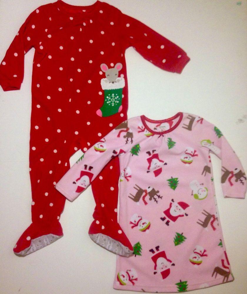 c0ffc8eef8c2 Carters Baby Girls Lot of 2 Fleece Christmas PJs Mouse Footed Santa ...