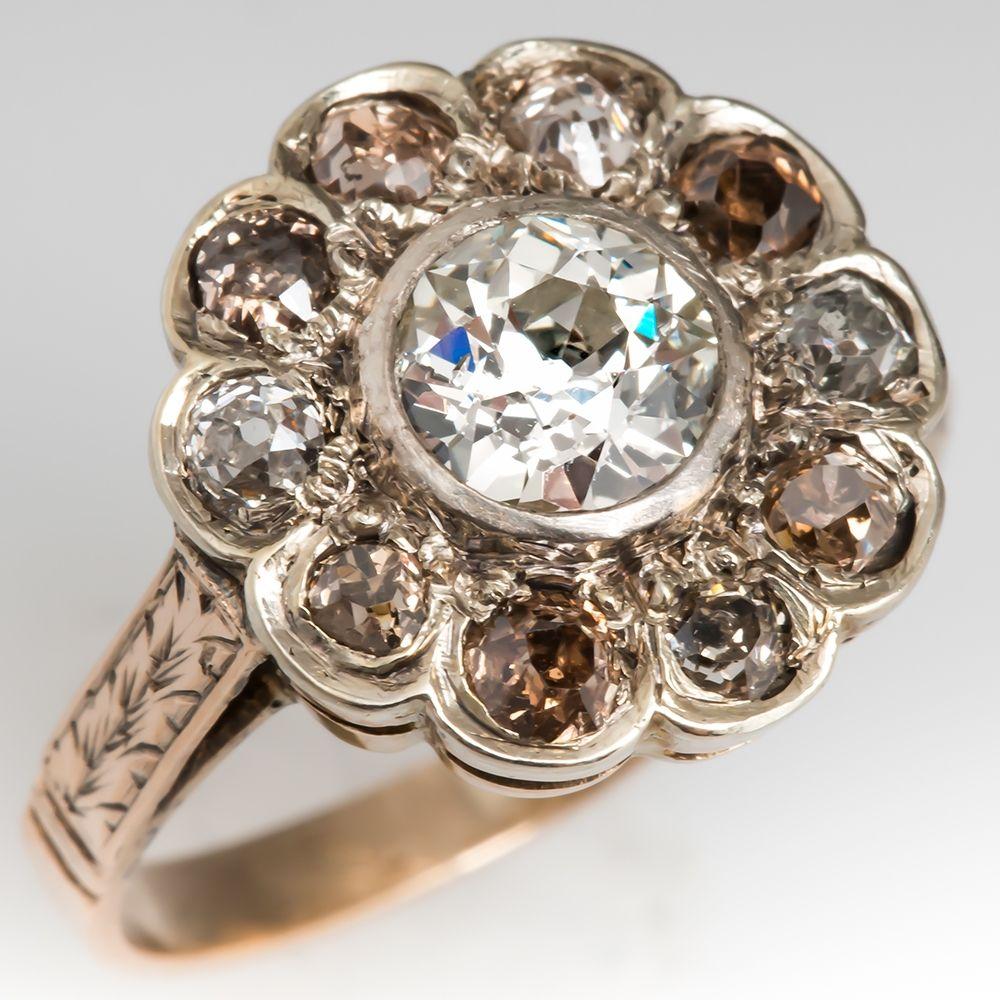MidVictorian Era Halo Diamond Ring Low Profile Champagne