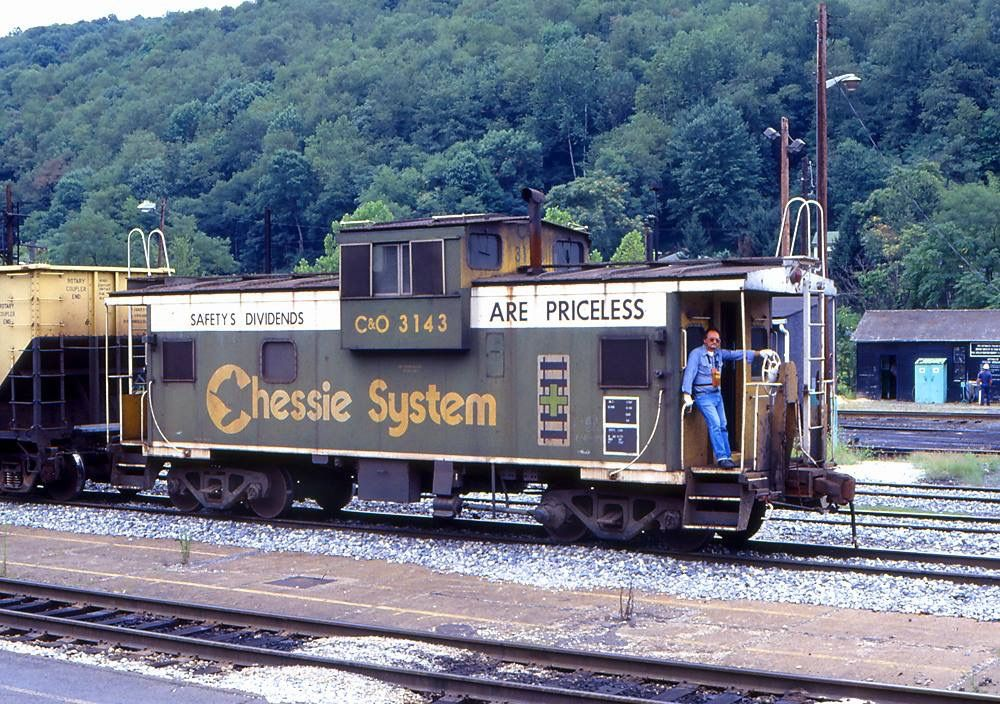 A CSX employee is seen here aboard the Chessie System