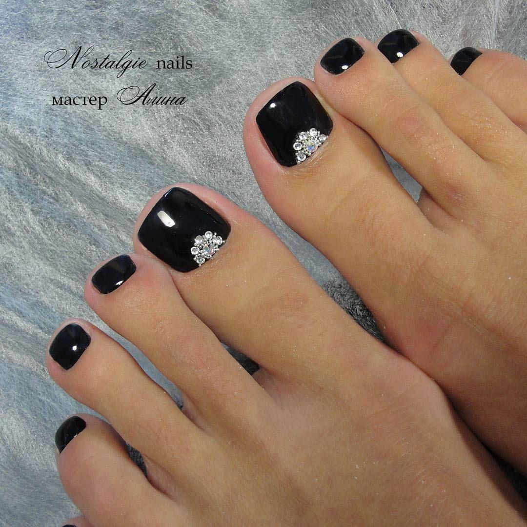 Black blinged out pedi nails pinterest pedicures mani pedi
