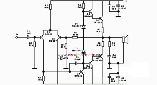 circuit schematic diagram ocl amplifier for subwoofer