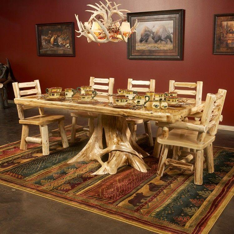 Cedar Lake Solid Wood Dining Table on Stump White cedar, Log