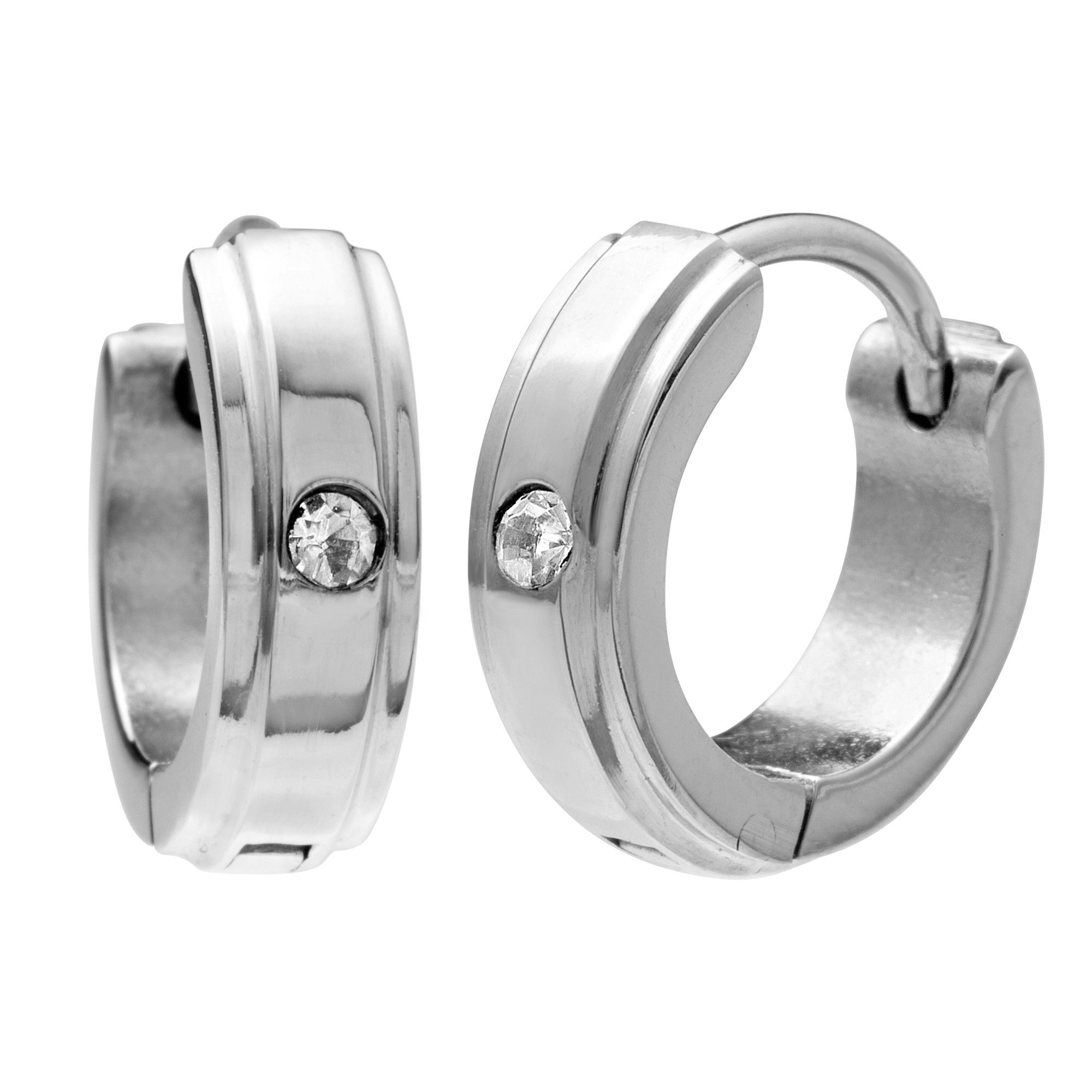 Cz Set Hinged Hoop Earrings For Men In Stainless Steel