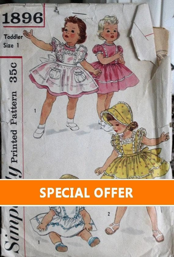 1956 Simplicity sewing pattern #1896 in Toddler size 1 - Dress ...