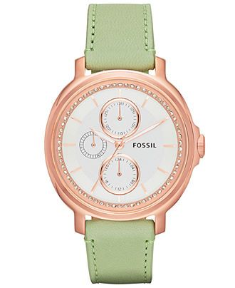 Fossil Watch, Women s Chelsey Light Green Leather Strap 39mm ES3357 ... 96ccc37697