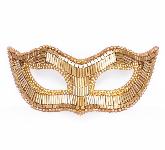 Pink & Gold Masquerade Mask With Satin Leaves - Venetian Style ...