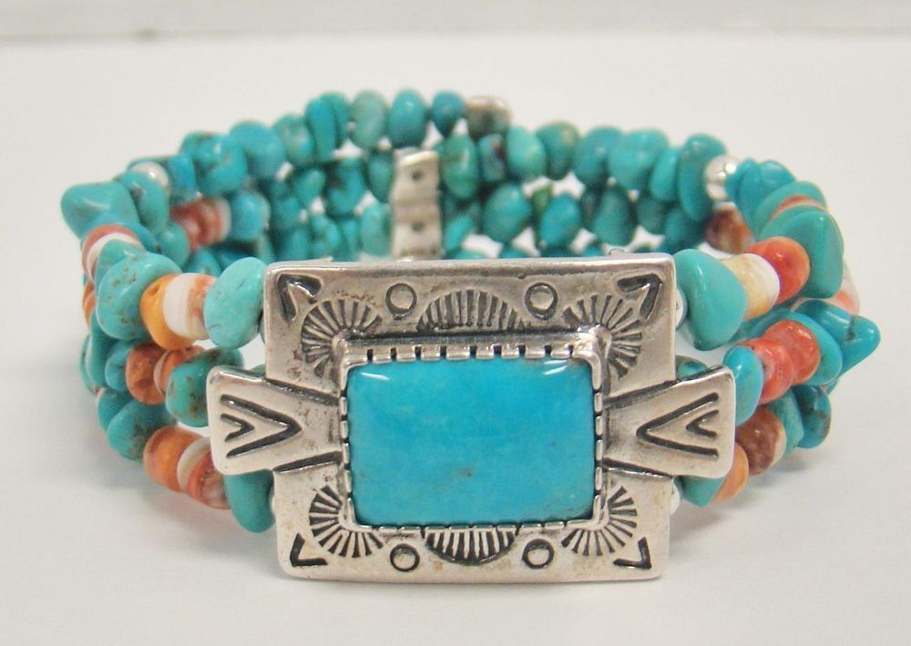 925 Sterling Silver Carolyn Pollack Relios Southwestern Turquoise Wrap Bracelet Carolynpollack