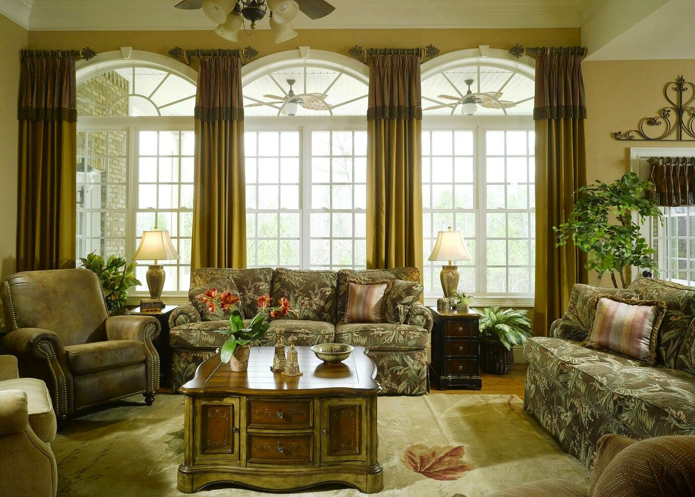 In this room we used simple shades on the lower portion to for Simple window treatments for large windows