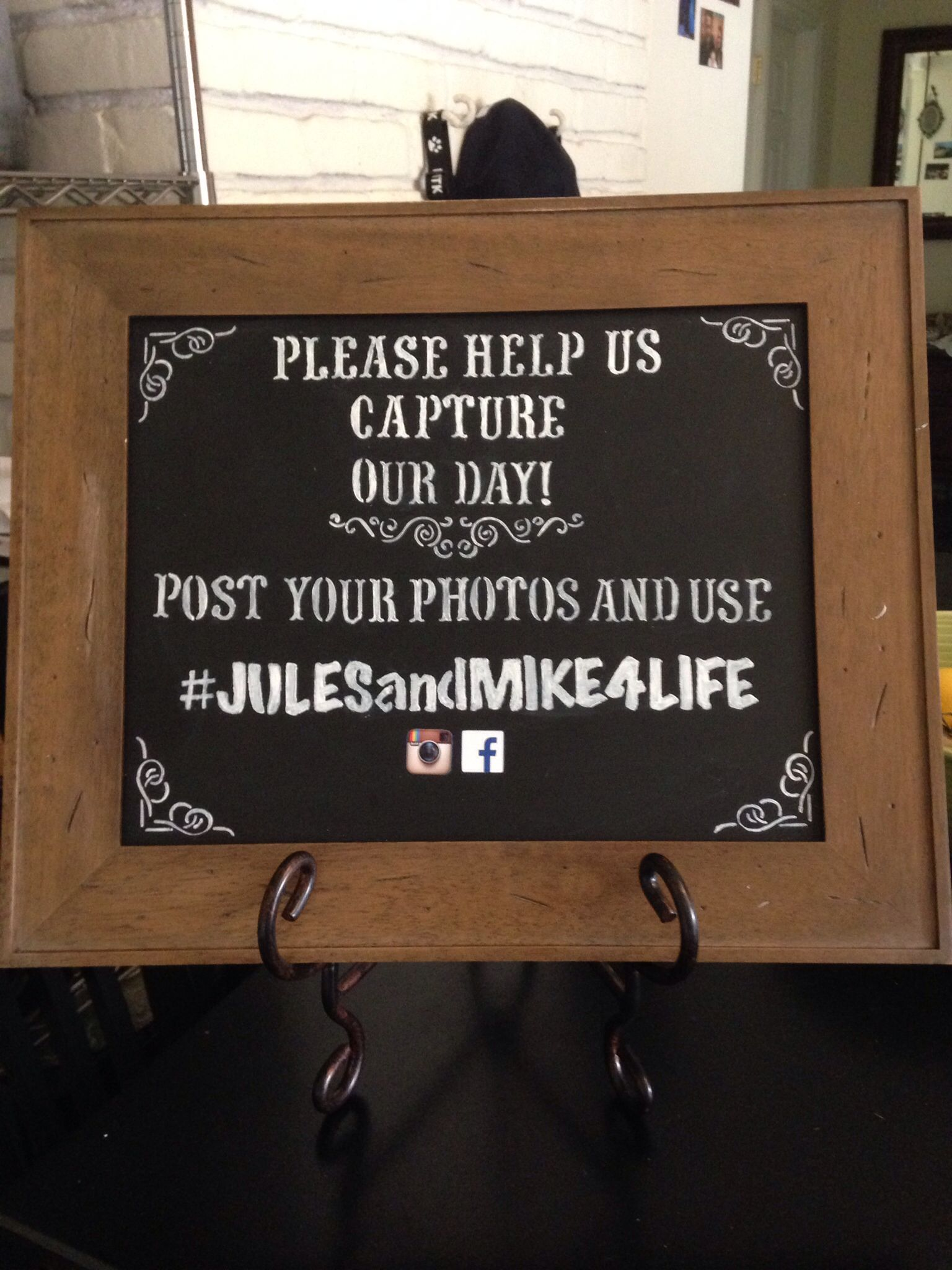 Wedding hashtag sign diypicture frame stencils chalkboard paint