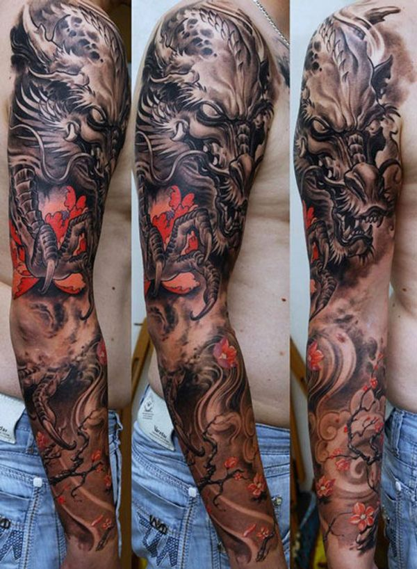 Black And Grey Sleeve With Red Highlights Tattoos Pinterest