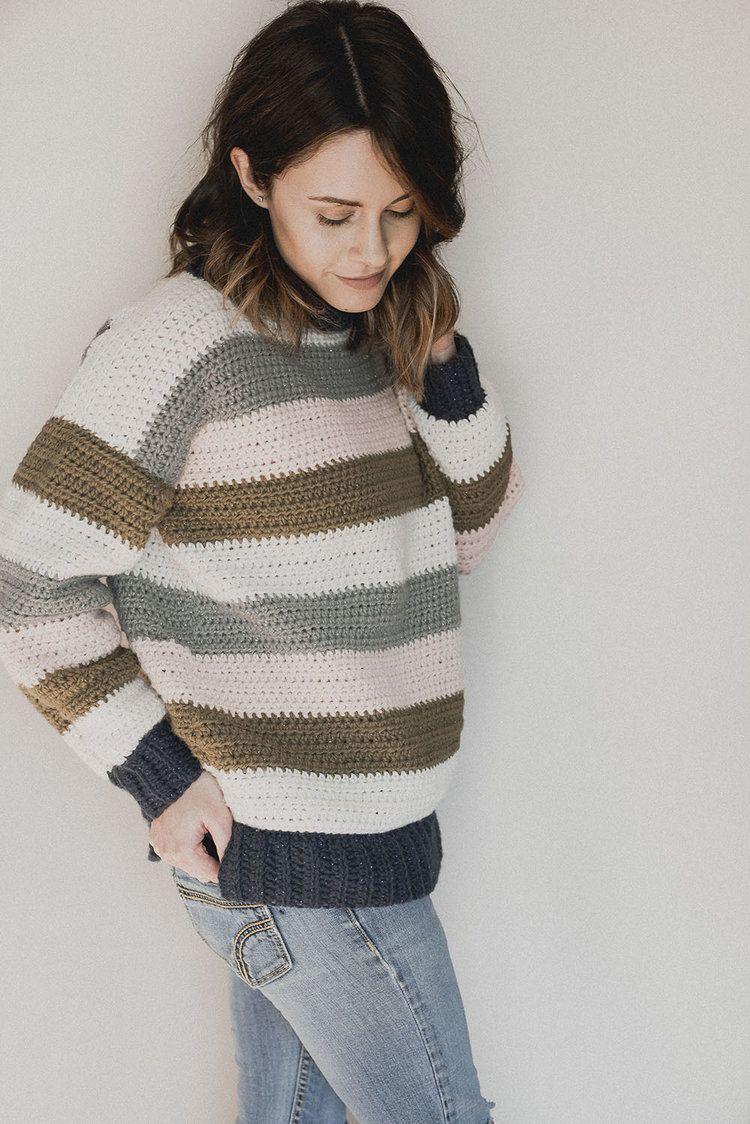 Free Crochet Pattern Retro Stripes Sweater Crochet