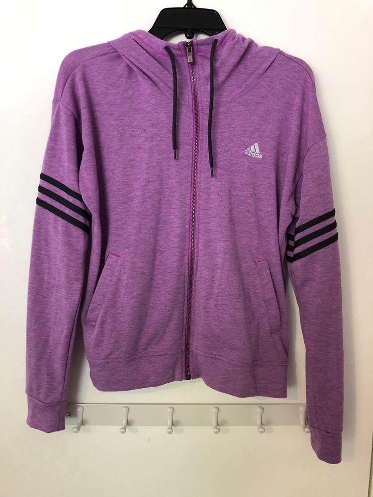Hoodie Purple S Sweatshirt Up Light Zip Womens Size Adidas Climalite HIDEW29