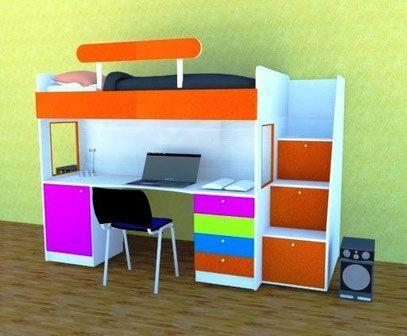 Camarote con escalera cajonera cama alta cubierta escritorio cajonera y estante bajo luna - Cama alta con escritorio ...