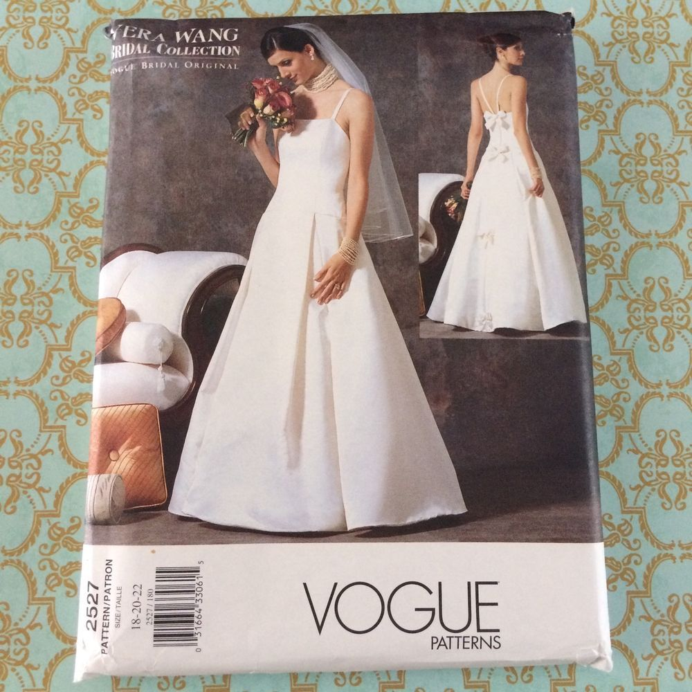 Patterns for wedding dresses  Details about Vogue Vera Wang Wedding Gown Dress Pattern  Uncut