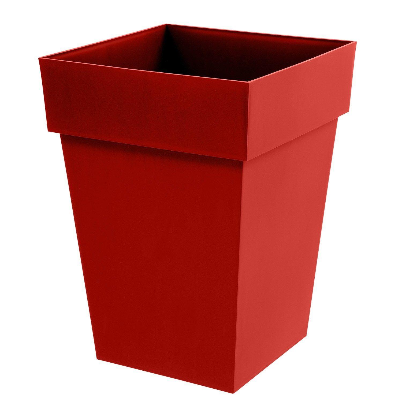 Pot De Fleur Haut Pas Cher pot plastique toscane, l.39 x l.39 x h.53 cm, rouge rubis