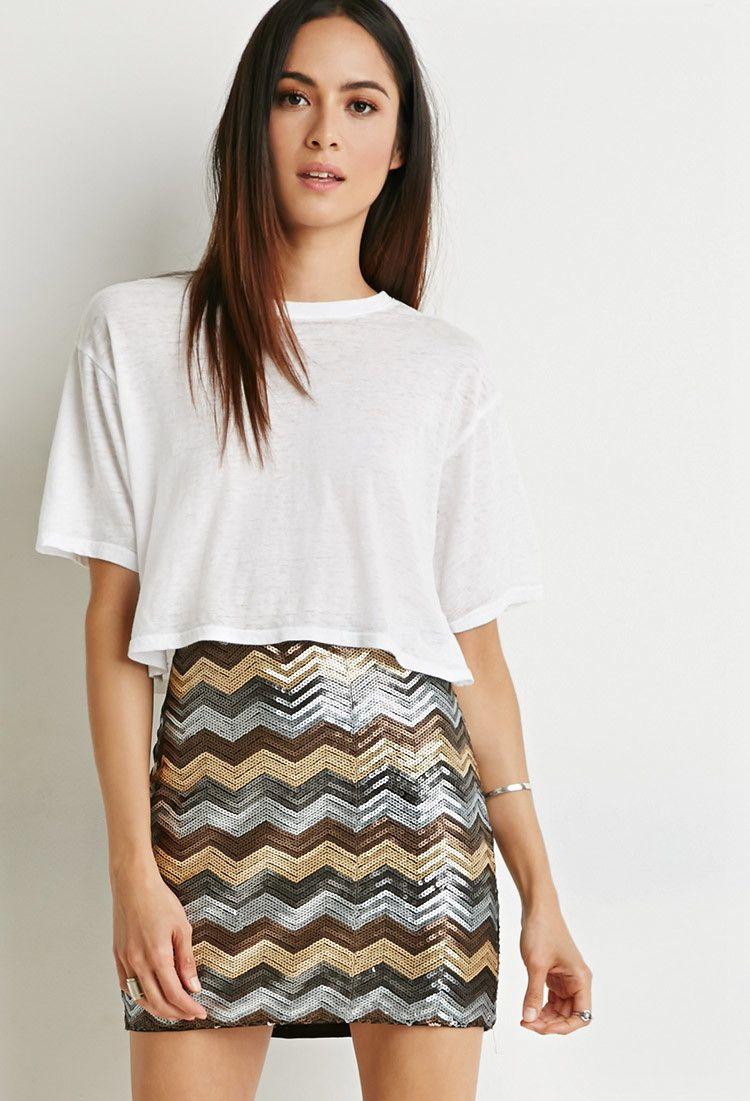 8da2bd3de3 Contemporary Sequined Chevron Bodycon Skirt | Sequins | Skirts ...