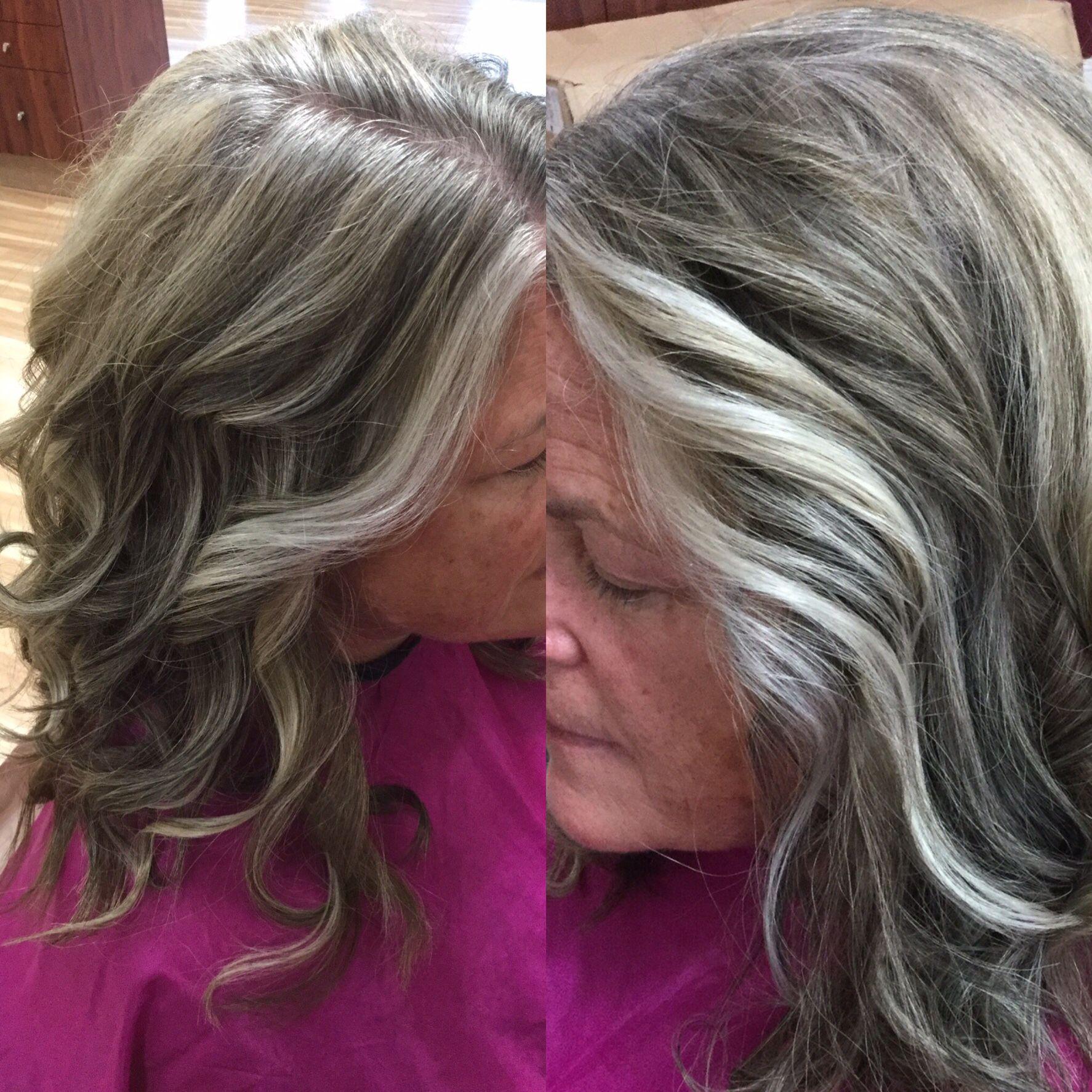 Blending Grey On My Client Kristen Grey Blending Grow Out Studio 1 Salon Blending Gray Hair Hair Highlights Gray Hair Growing Out