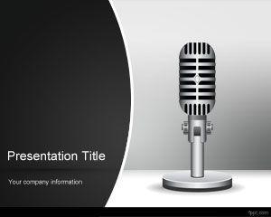 free radio music powerpoint template is a radio mic slide design